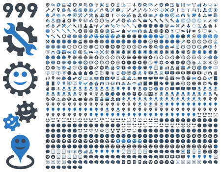 tiers: 999 tools, gears, smiles, map markers, mobile icons. Vector set style is bicolor flat images, smooth blue symbols, isolated on a white background.