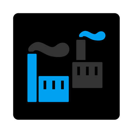 Industry icon. Vector style is bicolor flat symbol, gray and light blue colors, black rounded square button, white background. Illustration