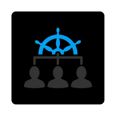 govern: Management icon. Vector style is bicolor flat symbol, gray and light blue colors, black rounded square button, white background. Illustration