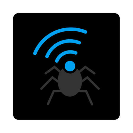 Radio spy bug icon. Vector style is bicolor flat symbol, gray and light blue colors, black rounded square button, white background.