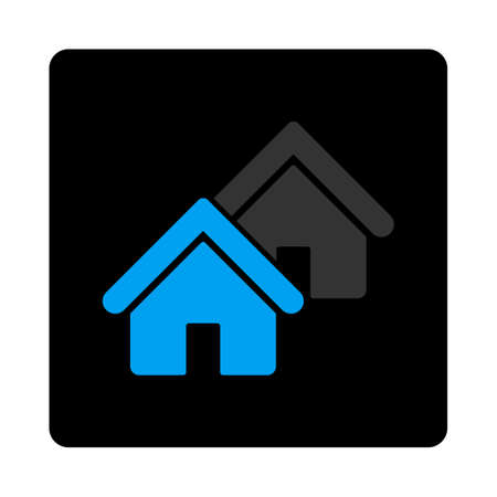 realty: Realty icon. Vector style is bicolor flat symbol, gray and light blue colors, black rounded square button, white background.