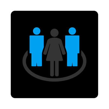 commune: Society icon. Vector style is bicolor flat symbol, gray and light blue colors, black rounded square button, white background. Illustration