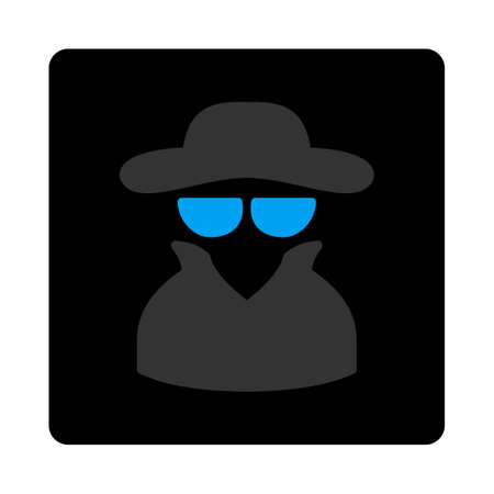 cia: Spy icon. Vector style is bicolor flat symbol, gray and light blue colors, black rounded square button, white background.