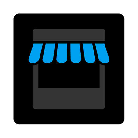 Store icon. Vector style is bicolor flat symbol, gray and light blue colors, black rounded square button, white background.