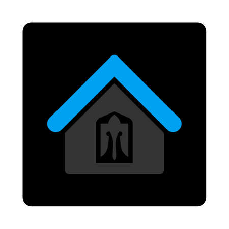 birthplace: Home icon. Vector style is bicolor flat symbol, gray and light blue colors, black rounded square button, white background.