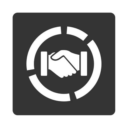 acquisition: Acquisition diagram icon. Glyph style is white and gray colors, flat rounded square button on a white background.