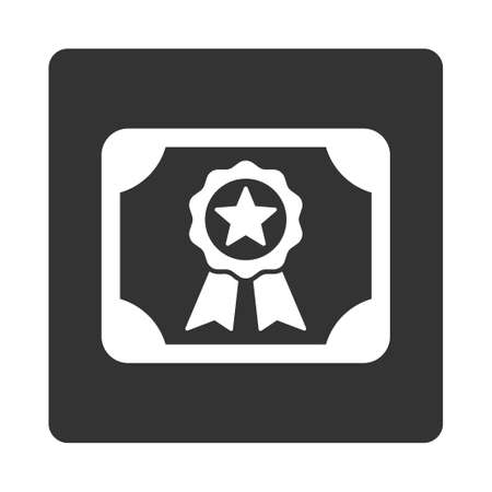 attest: Certificate icon. Glyph style is white and gray colors, flat rounded square button on a white background.