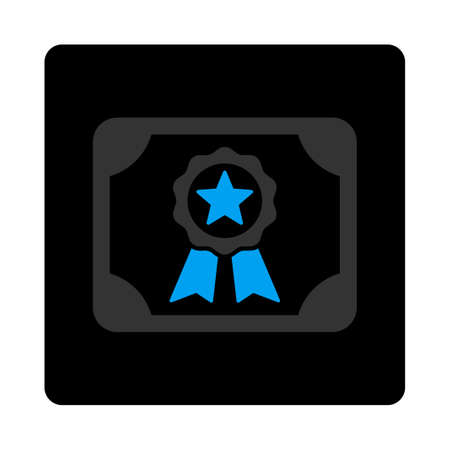 attest: Certificate icon. Vector style is bicolor flat symbol, gray and light blue colors, black rounded square button, white background. Illustration