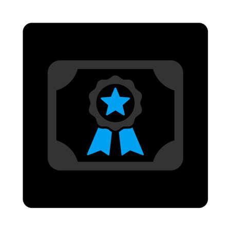 autoriser: ic�ne de certificat. style de Vector est bicolor plat symbole, couleurs gris et bleu clair, bouton carr� noir arrondi, fond blanc.