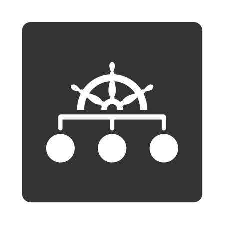 supremacy: Rule icon. Glyph style is white and gray colors, flat rounded square button on a white background.