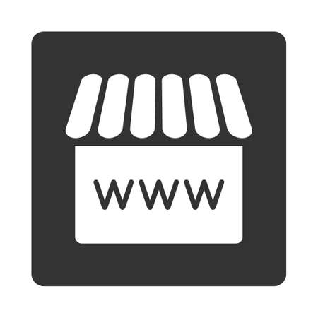 alibaba: Webstore icon. Glyph style is white and gray colors, flat rounded square button on a white background.