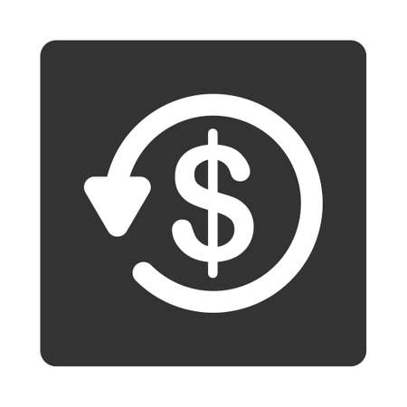 restitution: Refund icon. This flat rounded square button uses white and gray colors and isolated on a white background.