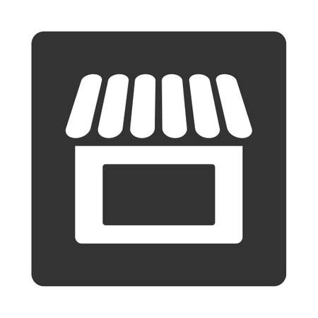 mercantile: Shop icon. This flat rounded square button uses white and gray colors and isolated on a white background.