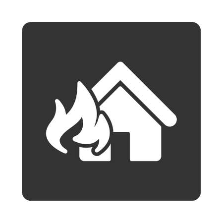 fire damage: Fire Damage icon. This flat rounded square button uses white and gray colors and isolated on a white background. Illustration