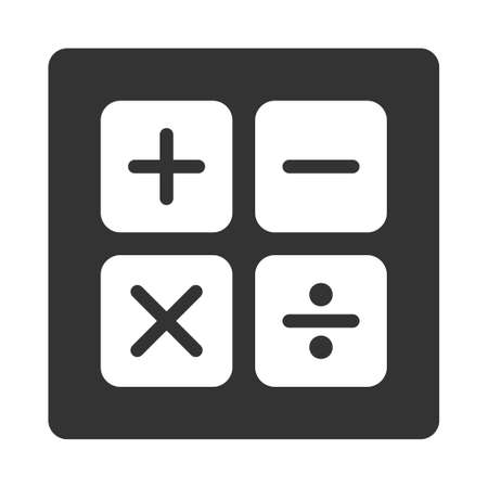 subtract: Calculator icon. This flat rounded square button uses white and gray colors and isolated on a white background. Illustration