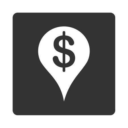 placement: Placement icon. This flat rounded square button uses white and gray colors and isolated on a white background.