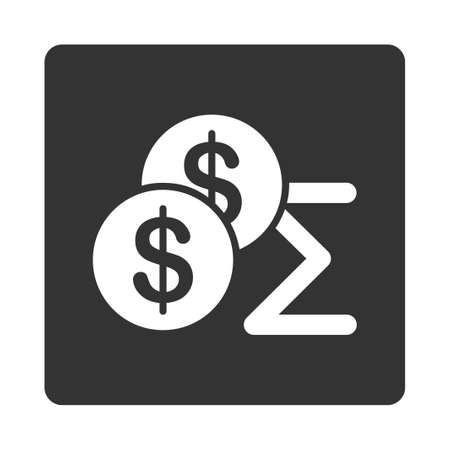 summary: Summary icon. This flat rounded square button uses white and gray colors and isolated on a white background.