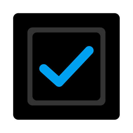 marked boxes: Checked checkbox icon. The icon symbol is drawn with blue and gray colors on a black button isolated on a white background. Stock Photo