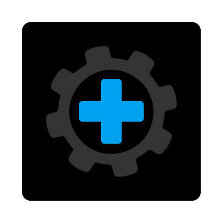 config: Medical settings icon. The icon symbol is drawn with blue and gray colors on a black button isolated on a white background.