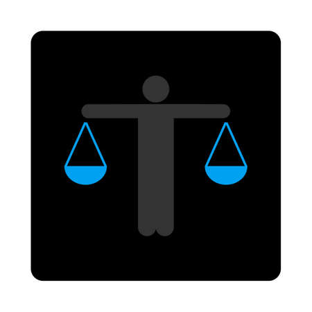 approximate: Lawyer icon. The icon symbol is drawn with blue and gray colors on a black button isolated on a white background.