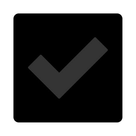 accept icon: Accept icon. The icon symbol is drawn with blue and gray colors on a black button isolated on a white background.