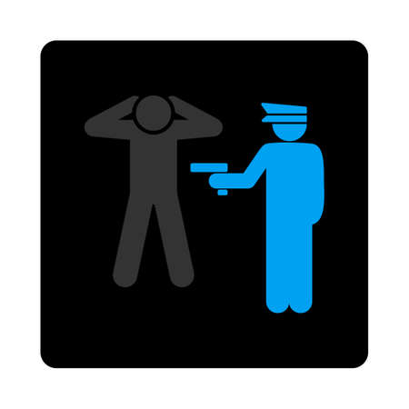 arrest: Arrest icon. The icon symbol is drawn with blue and gray colors on a black button isolated on a white background. Illustration