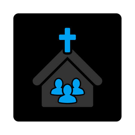iconic architecture: Church icon. The icon symbol is drawn with blue and gray colors on a black button isolated on a white background.