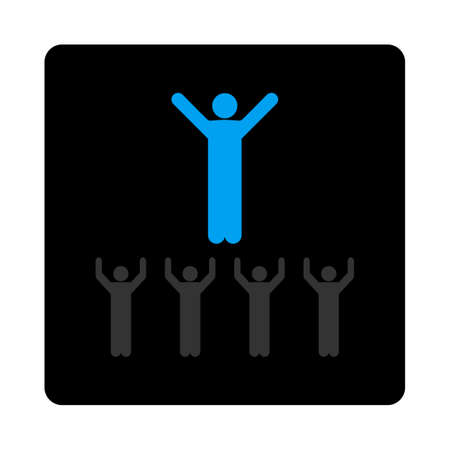 class room: Religion icon. The icon symbol is drawn with blue and gray colors on a black button isolated on a white background.