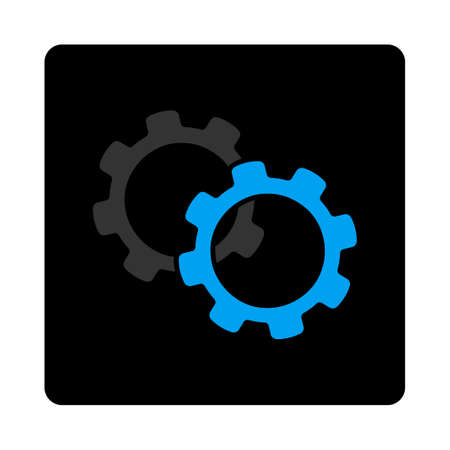 Gears icon. The icon symbol is drawn with blue and gray colors on a black button isolated on a white background. Illustration