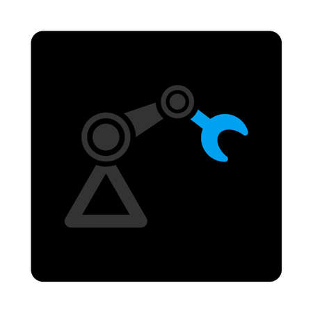 manipulator: Manipulator icon. The icon symbol is drawn with blue and gray colors on a black button isolated on a white background.