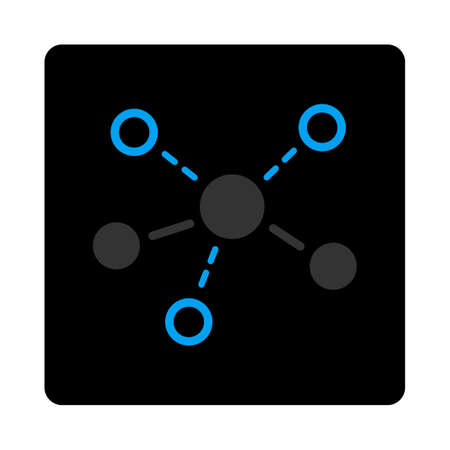 distribute: Structure icon. The icon symbol is drawn with blue and gray colors on a black button isolated on a white background.