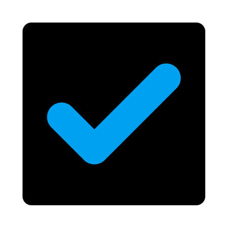Yes icon. The icon symbol is drawn with blue and gray colors on a black button isolated on a white background.