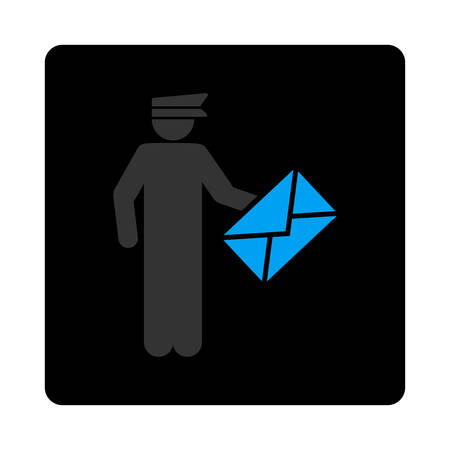 packet driver: Postman icon. The icon symbol is drawn with blue and gray colors on a black button isolated on a white background. Illustration