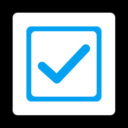 marked boxes: Checked checkbox icon. This flat rounded square button uses blue and white colors and isolated on a black background.