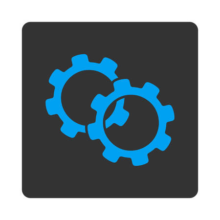 mech: Gears icon. This flat rounded square button uses white and gray colors and isolated on a white background. Illustration