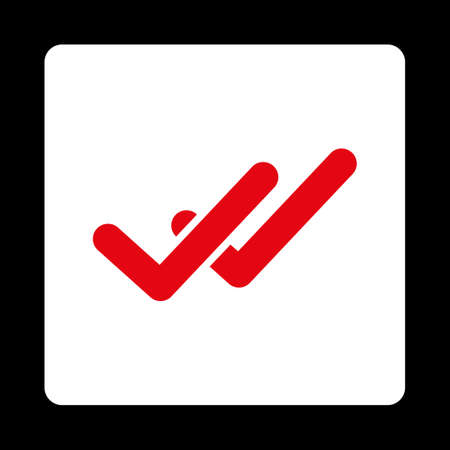 validation: Validation icon. This flat rounded square button uses red and white colors and isolated on a black background. Illustration