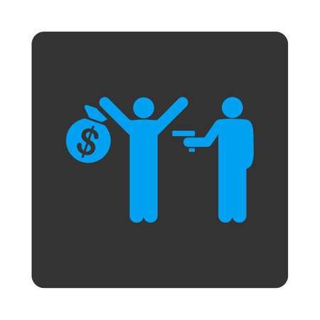 robbery: Robbery icon. This flat rounded square button uses white and gray colors and isolated on a white background. Illustration