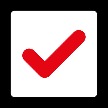 Yes icon. This flat rounded square button uses red and white colors and isolated on a black background.