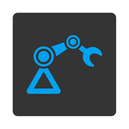 manipulator: Manipulator icon. This flat rounded square button uses white and gray colors and isolated on a white background. Stock Photo