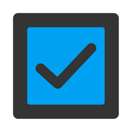 marked boxes: Check icon. This flat rounded square button uses white and gray colors and isolated on a white background.
