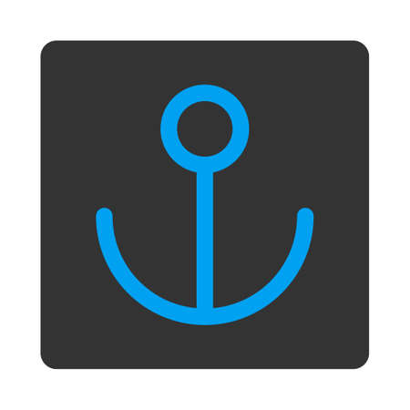 url: Anchor icon. This flat rounded square button uses white and gray colors and isolated on a white background.