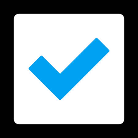 accept icon: Accept icon. This flat rounded square button uses blue and white colors and isolated on a black background.