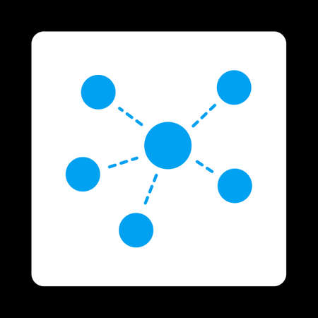 atomic center: Connections icon. Glyph style is blue and white colors, flat rounded square button on a black background. Stock Photo