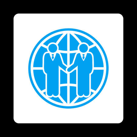global partnership: Global partnership icon. Glyph style is blue and white colors, flat rounded square button on a black background. Stock Photo