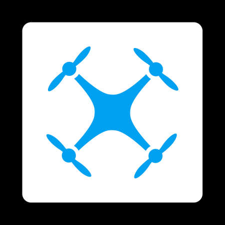 mech: Quadcopter icon. Glyph style is blue and white colors, flat rounded square button on a black background.