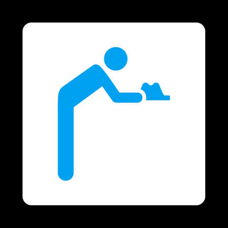 pauperism: Servant icon. Glyph style is blue and white colors, flat rounded square button on a black background. Stock Photo