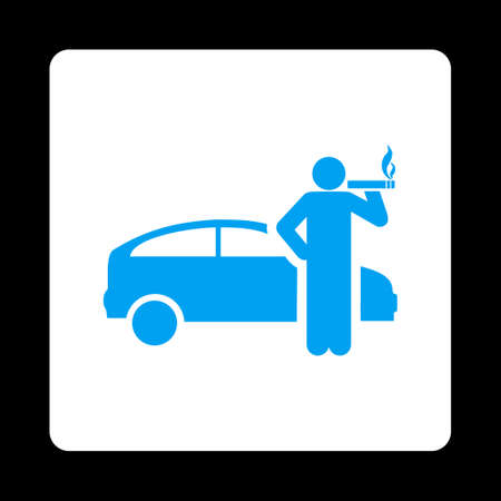 cigar shape: Smoking taxi driver icon. Glyph style is blue and white colors, flat rounded square button on a black background. Stock Photo