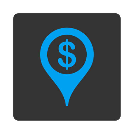 map marker: Bank map marker icon. Vector style is white and gray colors, flat rounded square button on a white background.