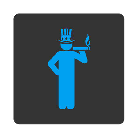 king master: Capitalist icon. Vector style is white and gray colors, flat rounded square button on a white background. Illustration