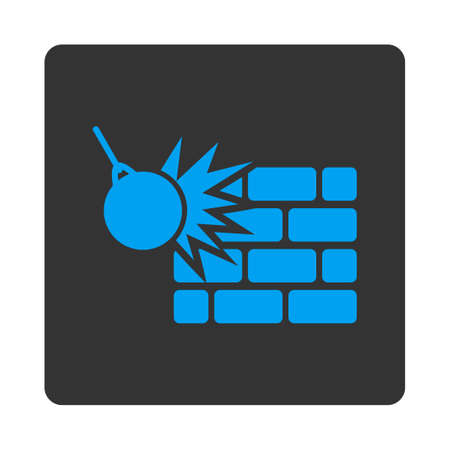 impact tool: Destruction icon. Vector style is white and gray colors, flat rounded square button on a white background.